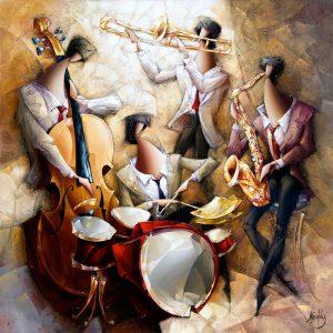 Jazz Quartet, acrílico de Nathan Brutsky
